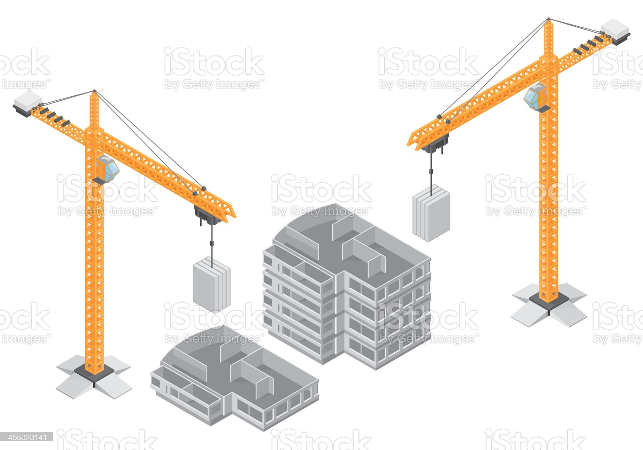 Small and large building under construction royalty-free stock vector art