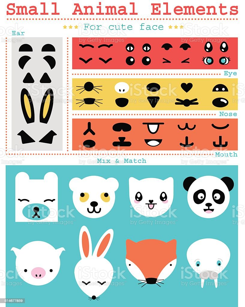 Small Animal elements vector art illustration
