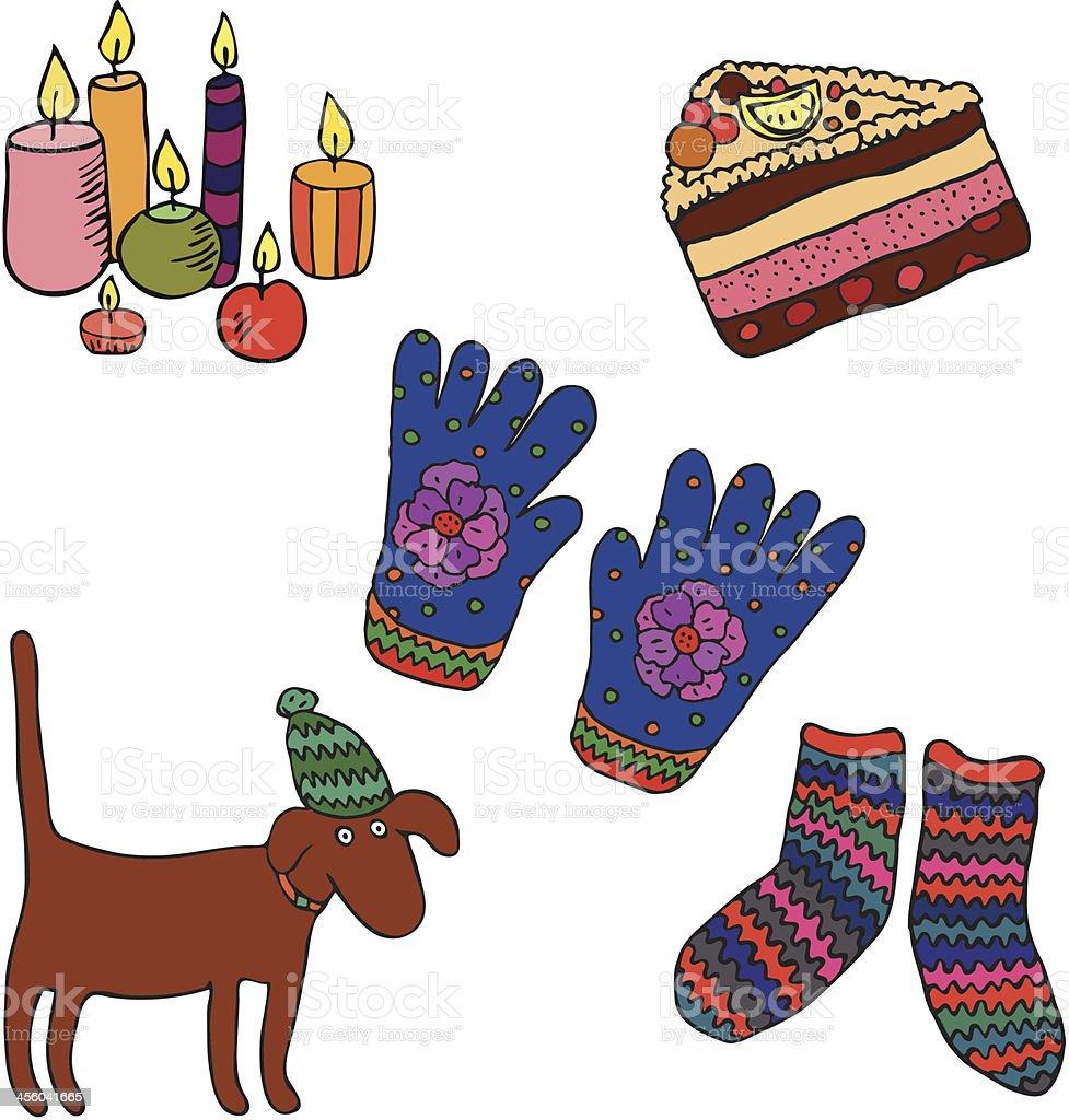Small autumn&winter treats vector art illustration