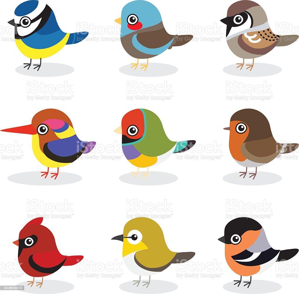 small bird vector collection vector art illustration