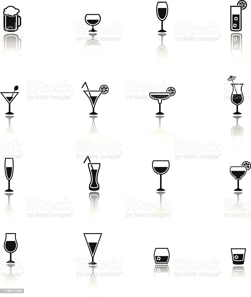 Small black icons of assorted adult beverages vector art illustration