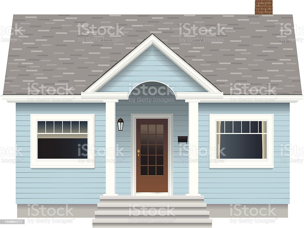 Small Blue House vector art illustration