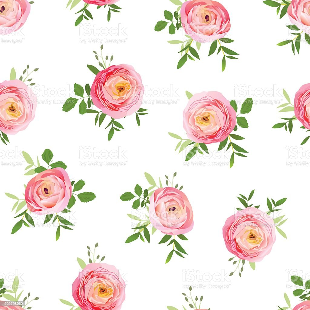 Small bouquets of roses seamless vector print vector art illustration