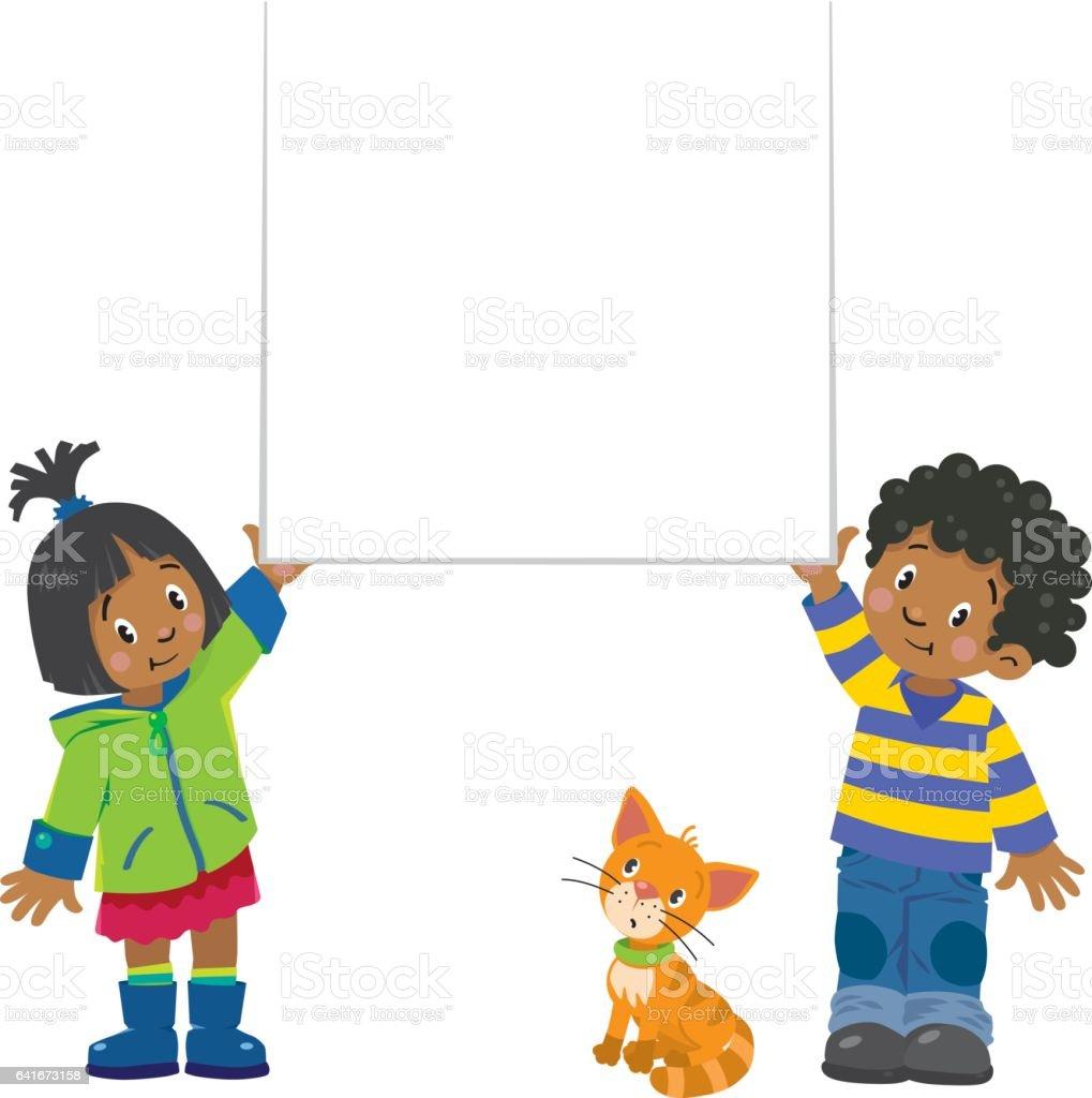 Small boy and girl holding banner vector art illustration