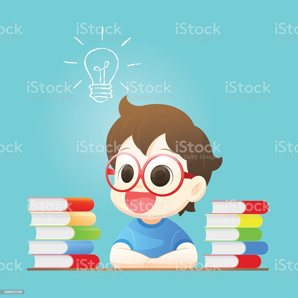 Small boy has idea vector art illustration