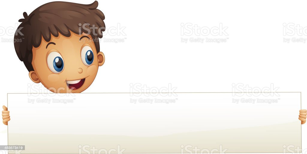 Small boy holding an empty banner royalty-free stock vector art