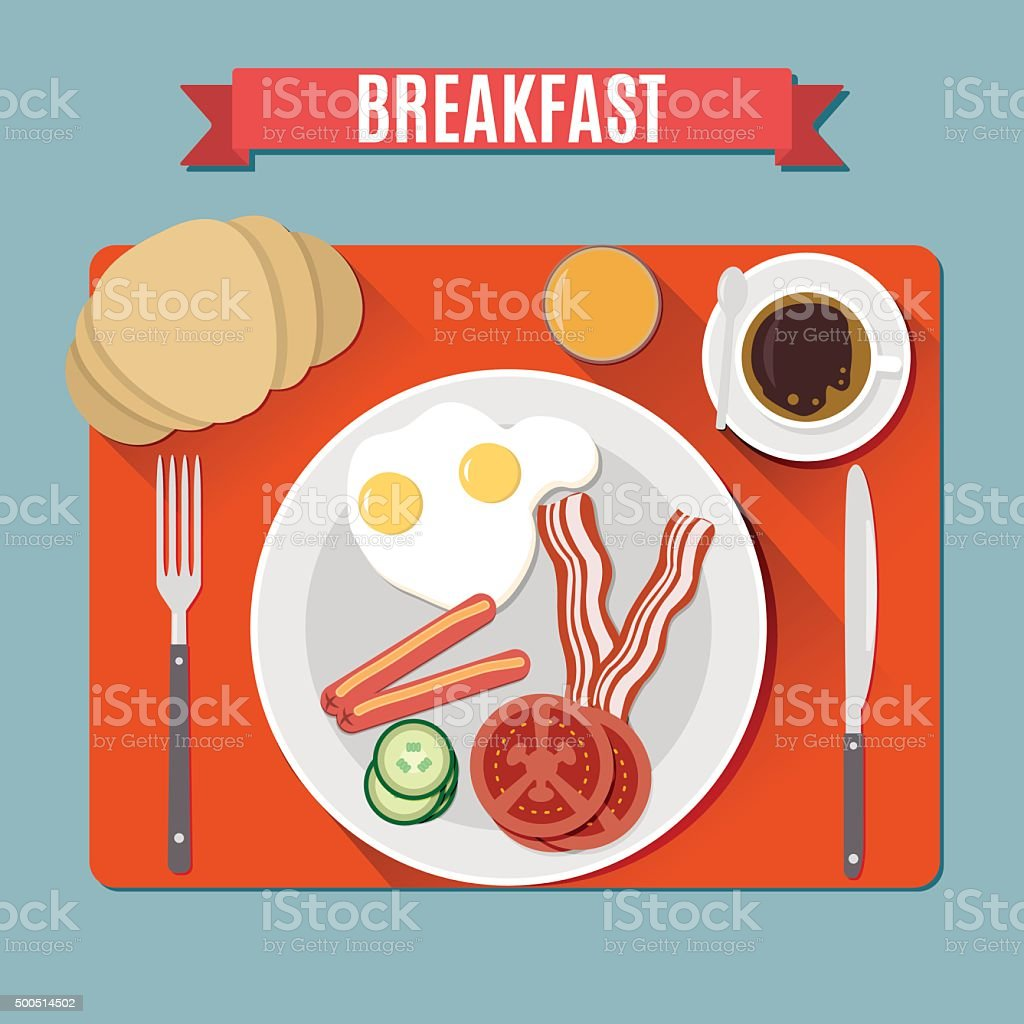 Small breakfast. Top view. vector art illustration