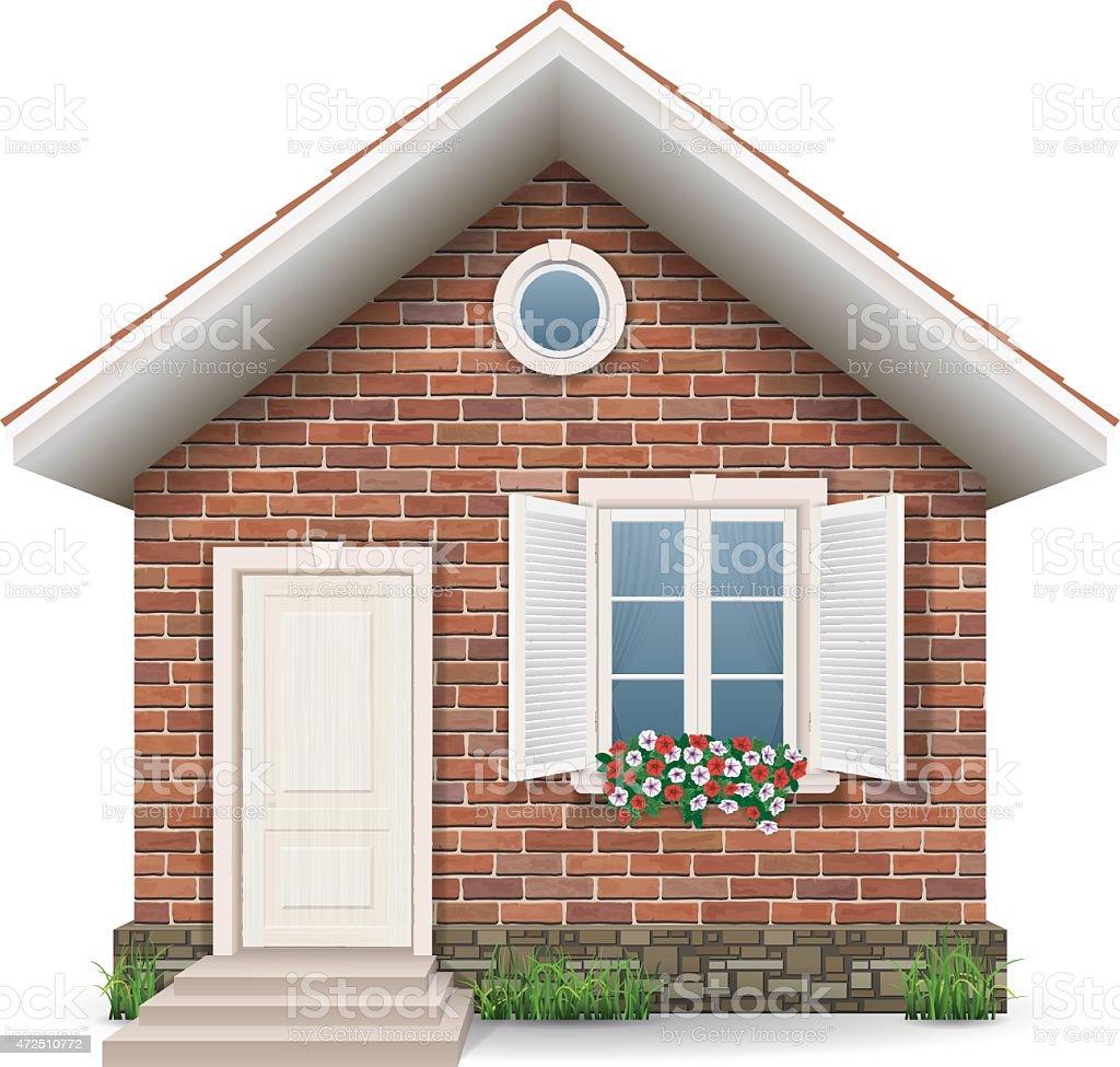 small brick house vector art illustration