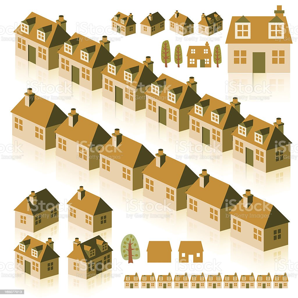Small Brown Houses vector art illustration