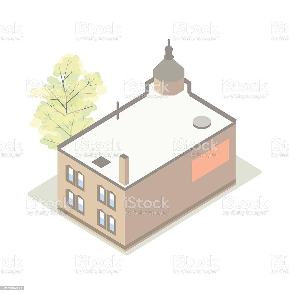 Small business main street isometric illustration vector art illustration