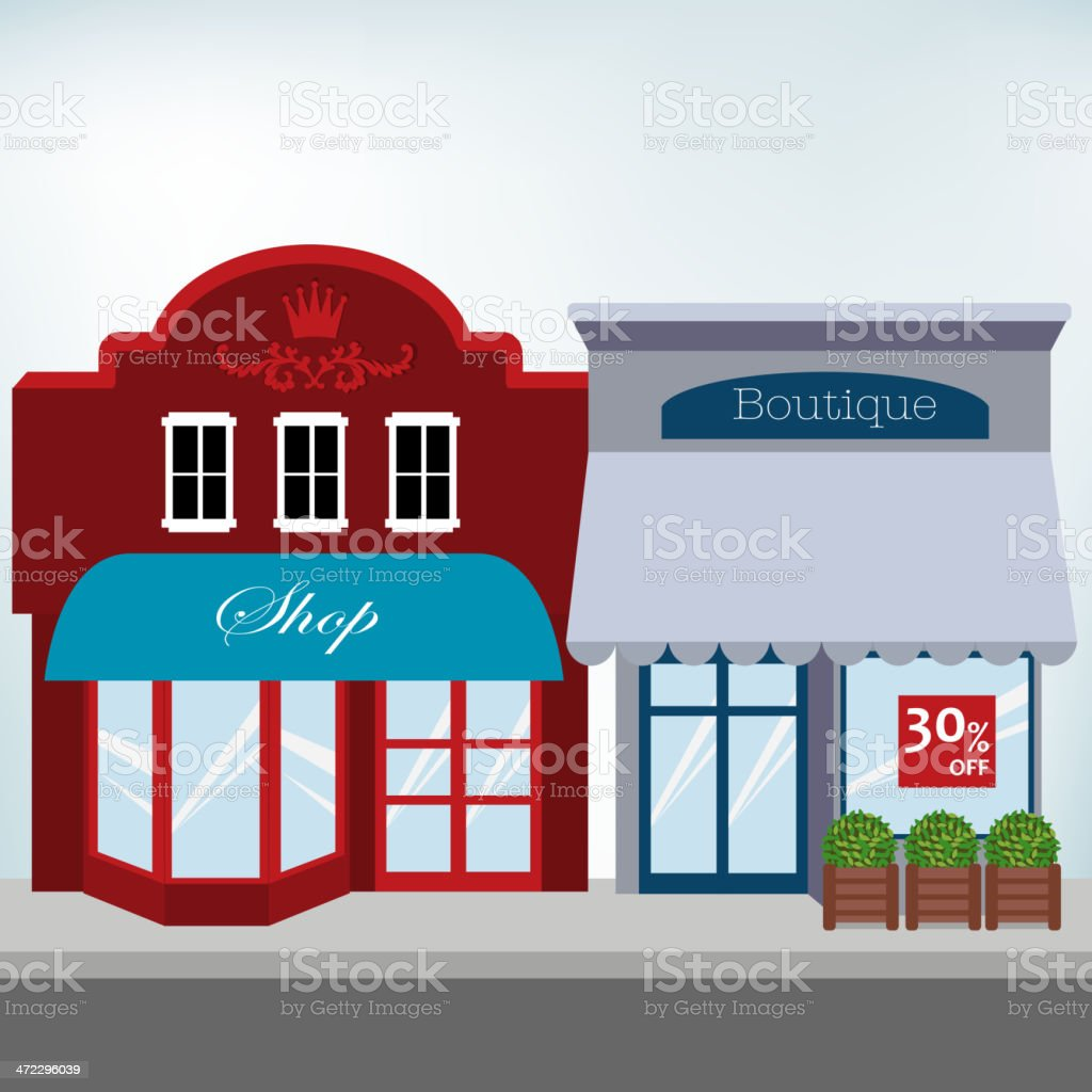 Small Business Shops vector art illustration