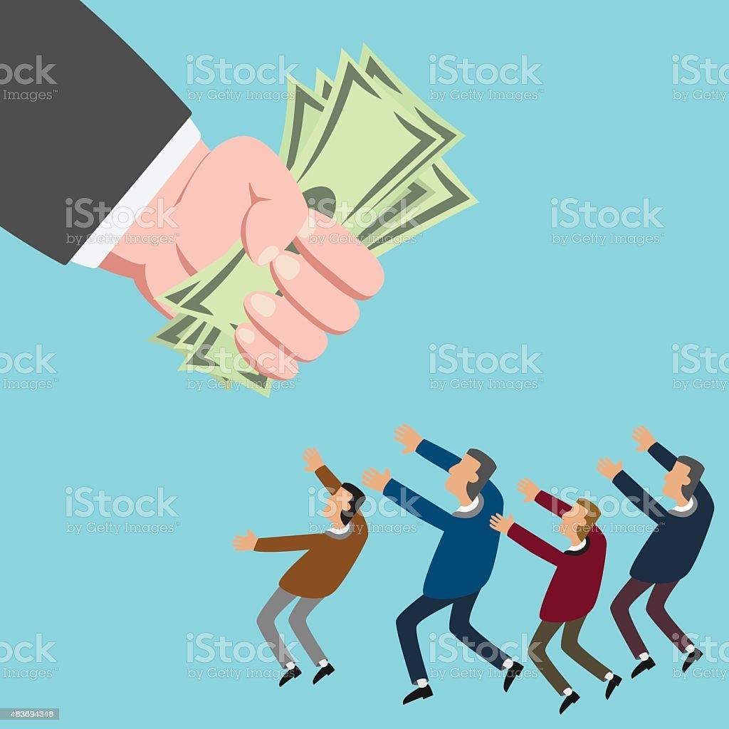 Small businessman reaching for money vector art illustration