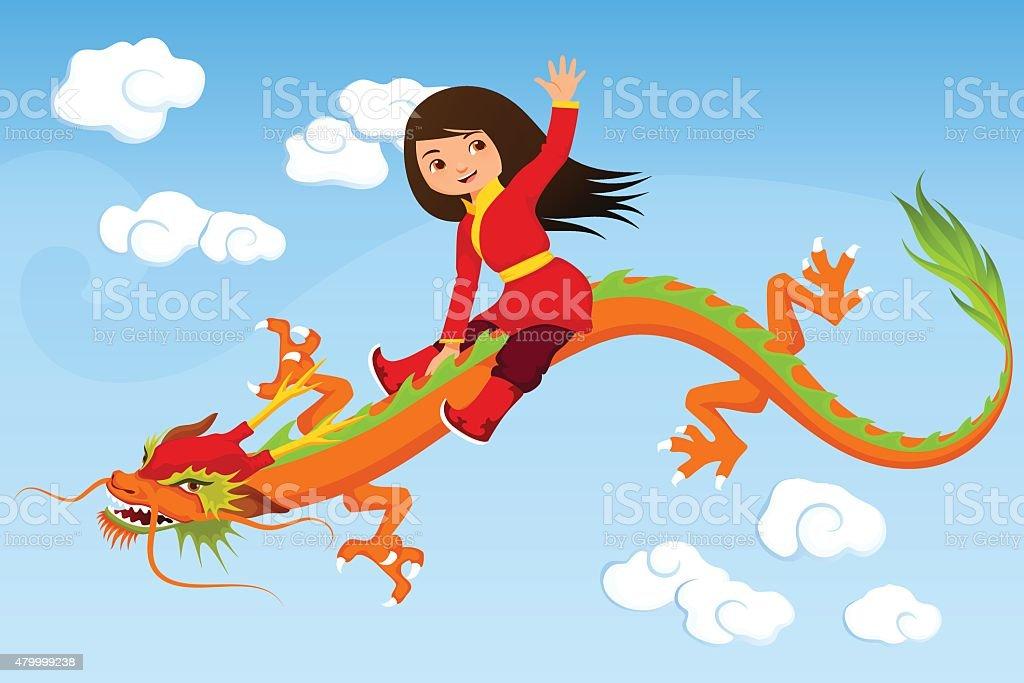 small cartoon Asian girl riding a dragon vector art illustration