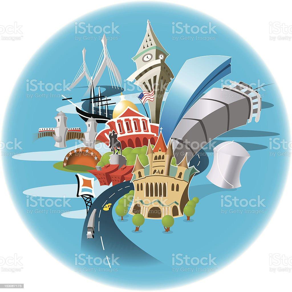 A small cartoon of many Boston landmarks in a blue circle  royalty-free stock vector art