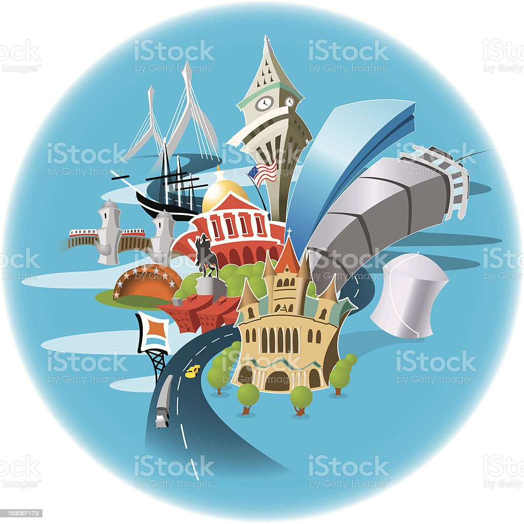 A small cartoon of many Boston landmarks in a blue circle  vector art illustration