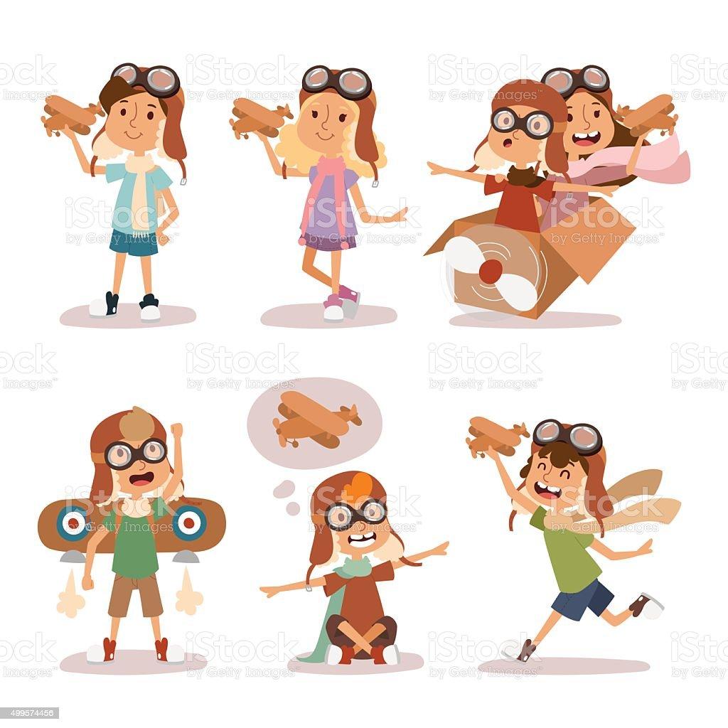 Small cartoon vector kids playing pilot aviation, dreams vector art illustration
