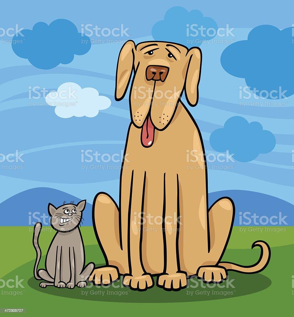 small cat and big dog cartoon illustration royalty-free stock vector art