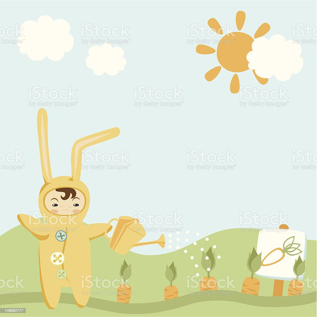Small Child in Bunny Costume royalty-free stock vector art