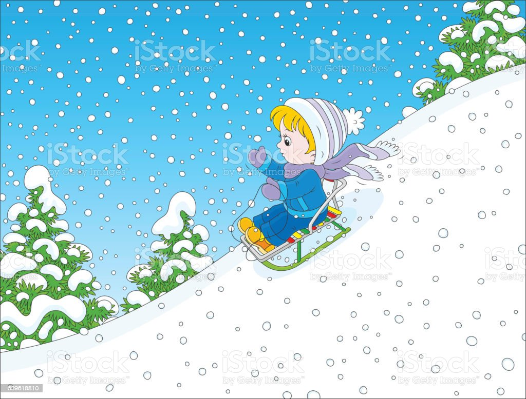 Small child sleighing vector art illustration