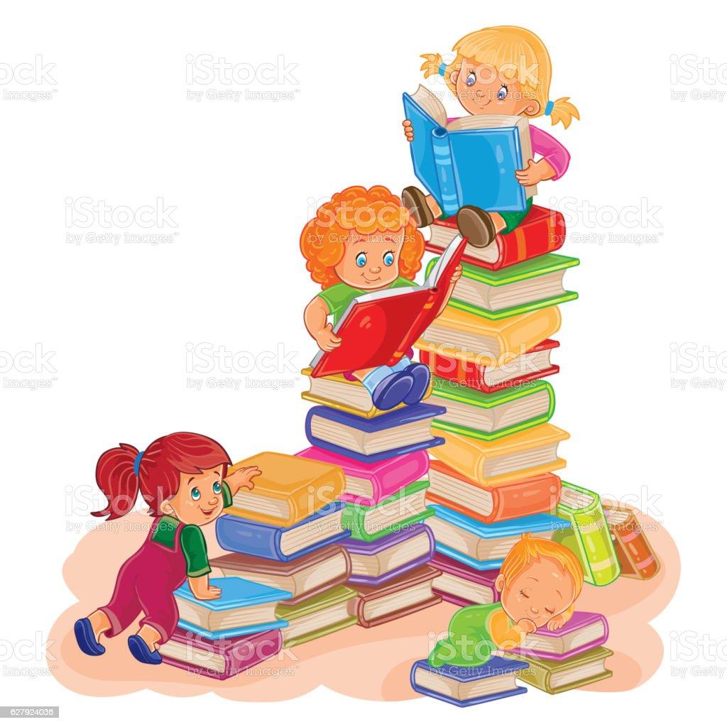 Small children reading a book vector art illustration