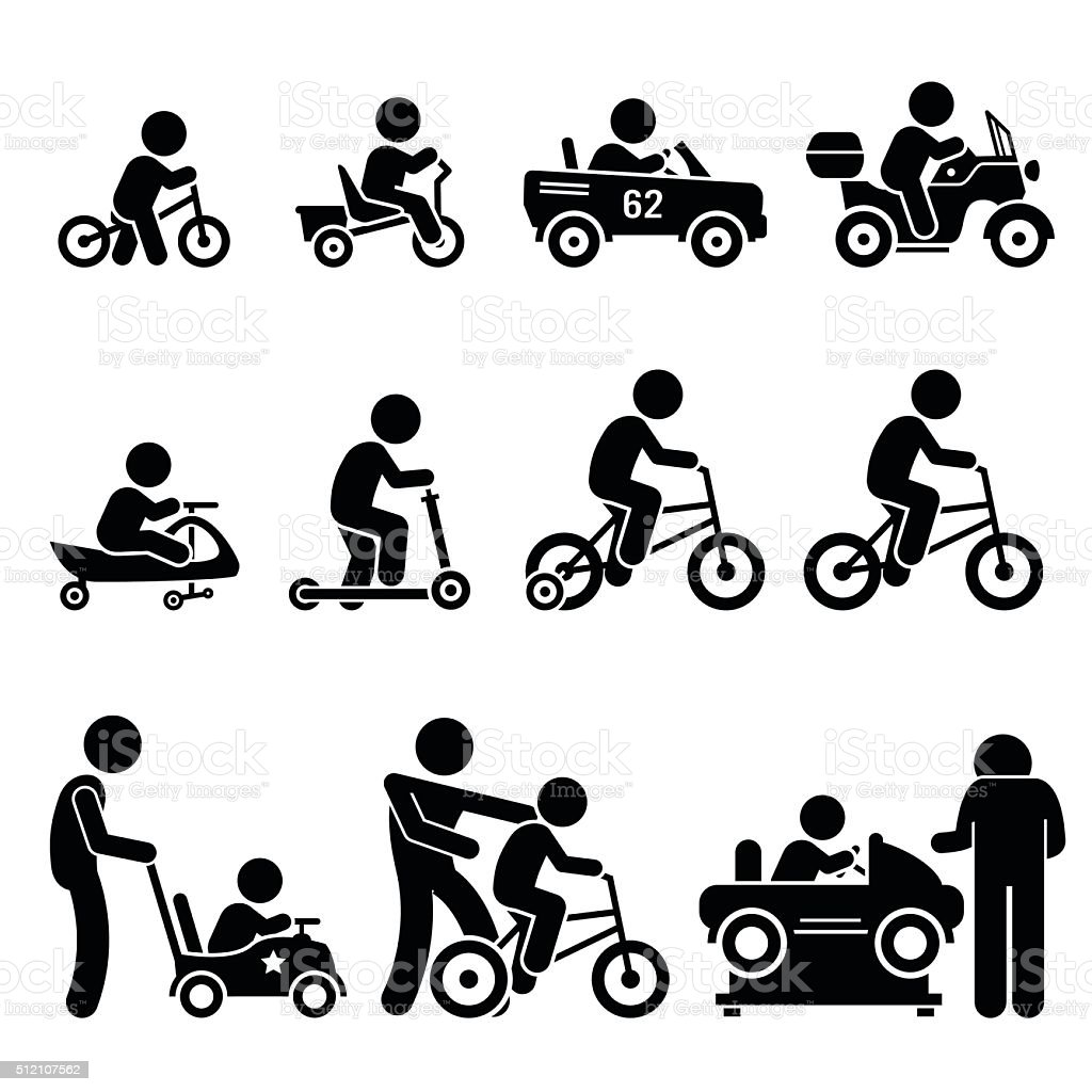 Small Children Riding Toy Vehicles and Bicycle Illustrations vector art illustration