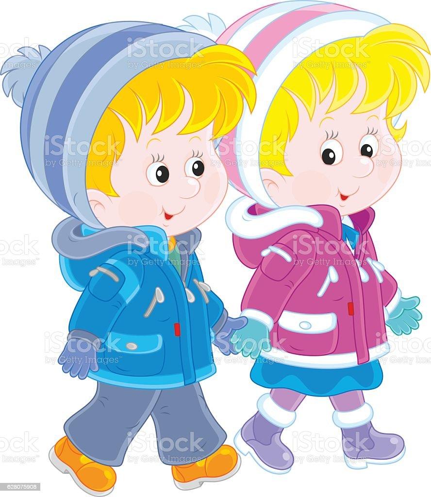 Small children walking vector art illustration