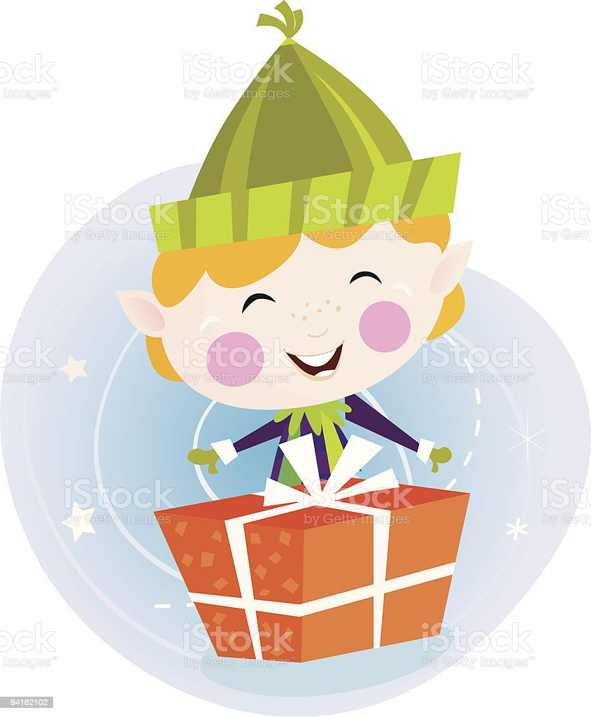 Small christmas elf with present royalty-free stock vector art
