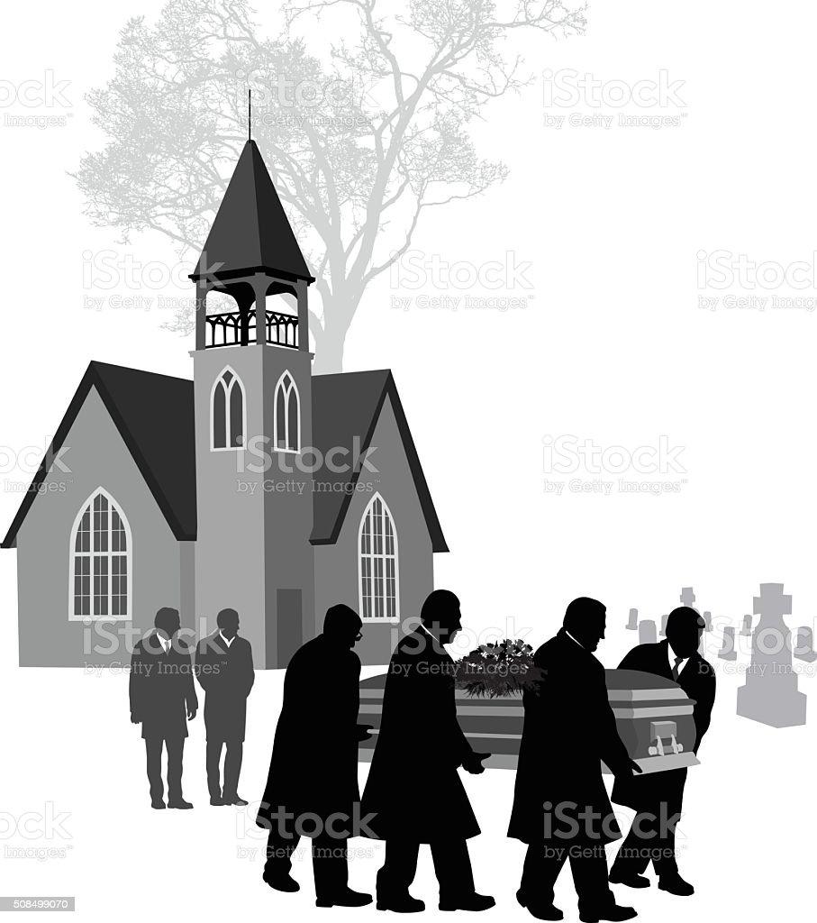 Small Church Funeral vector art illustration