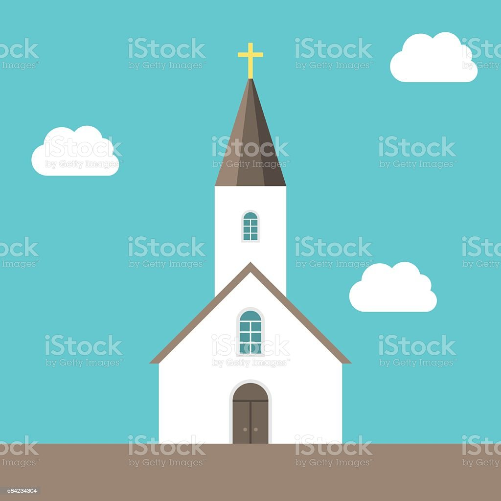 Small church, sky background vector art illustration