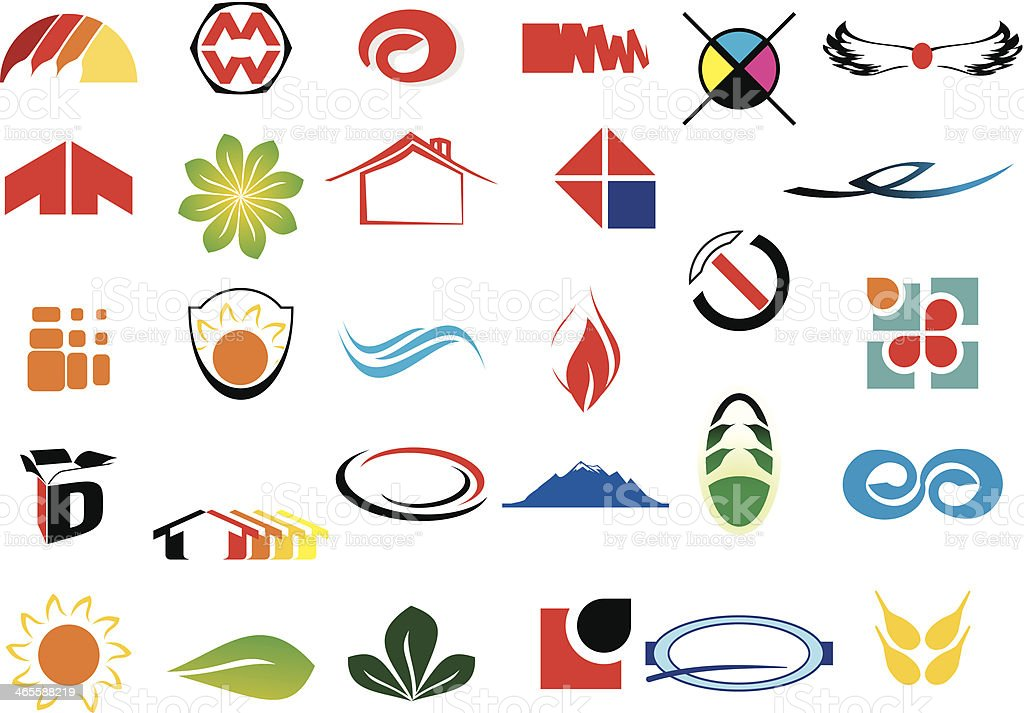 Small clip art logos, set of thirty vector art illustration