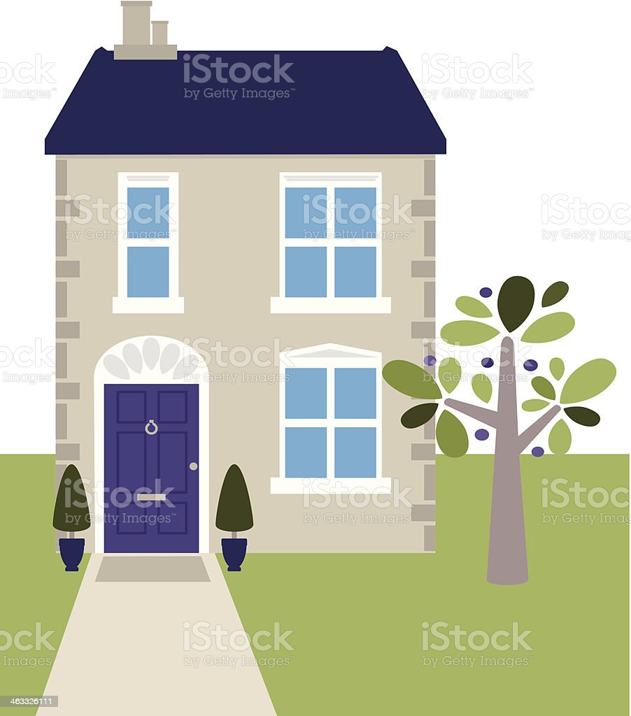 Small cottage house vector art illustration