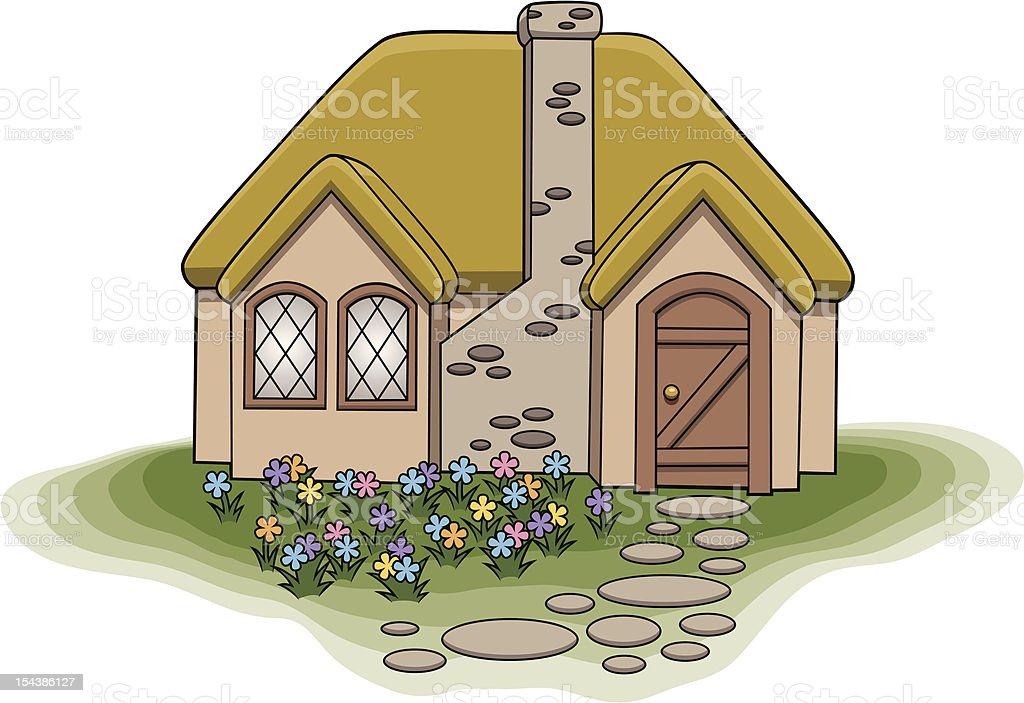 Small Cottage vector art illustration