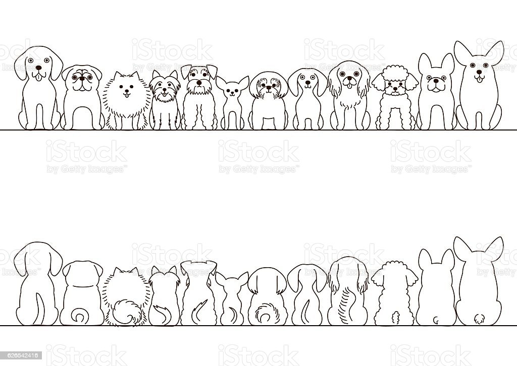 small dogs border set, front view and rear view, line art vector art illustration