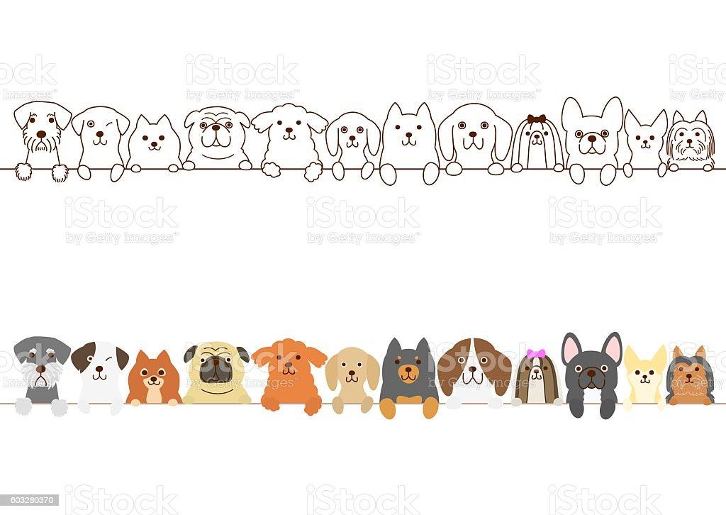 Small dogs border vector art illustration