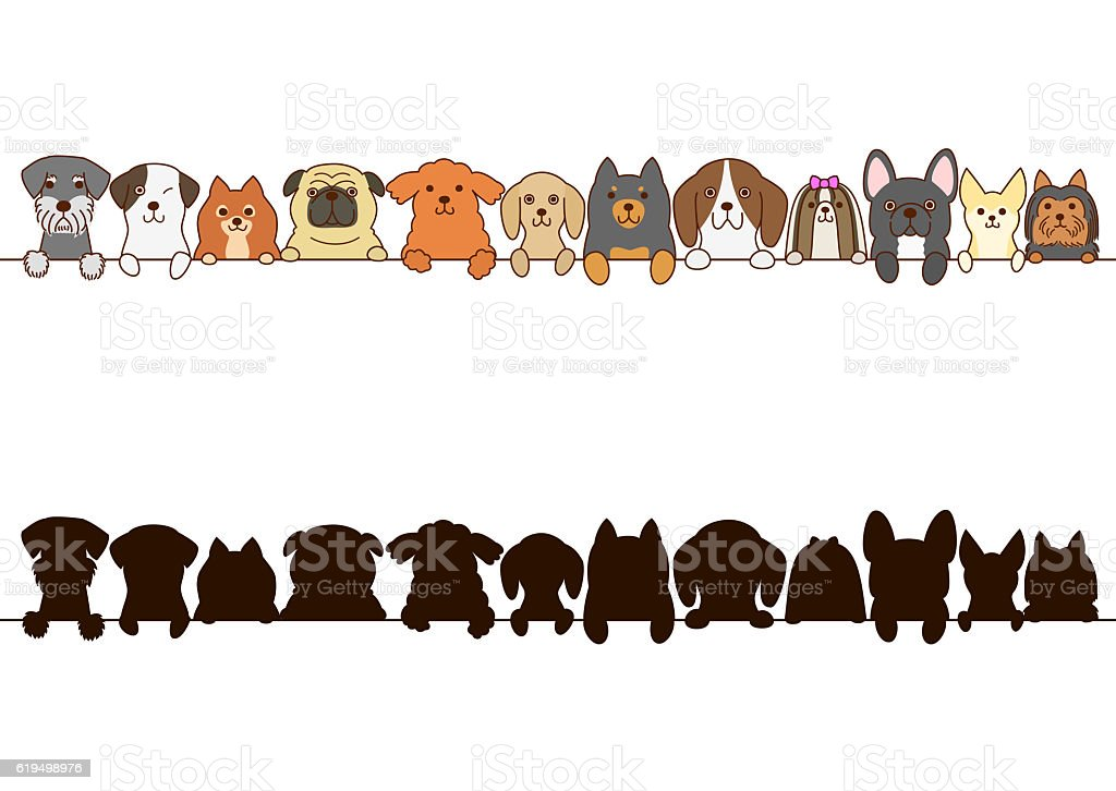 Small dogs border with silhouette vector art illustration