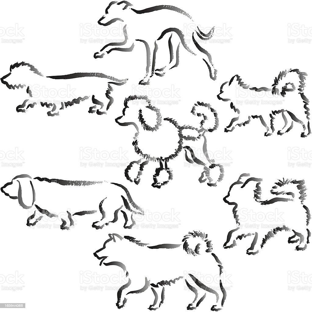 Small dogs Hand Drawn vector art illustration