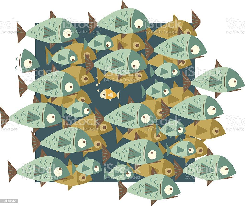 Small Fish in Big Pond vector art illustration