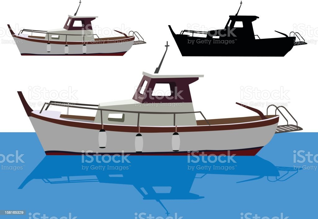 Small Fishing Boat vector art illustration