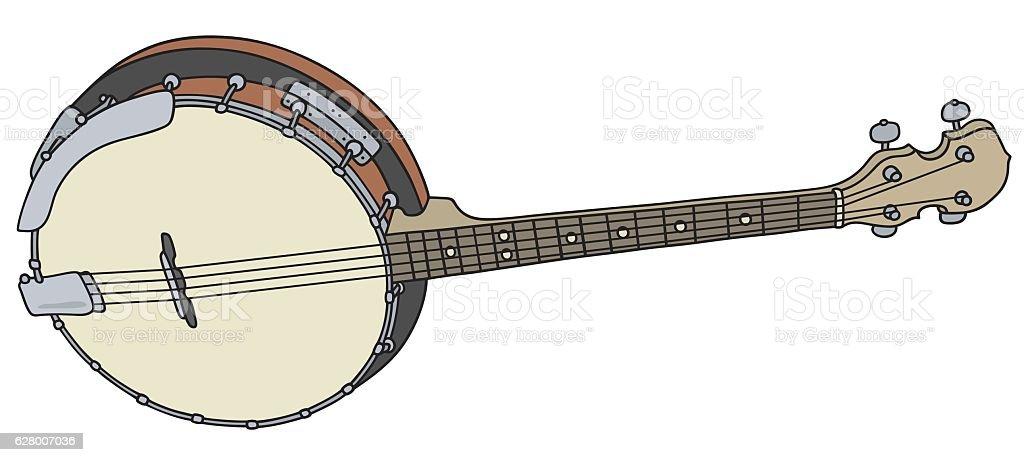 Small four strings banjo vector art illustration