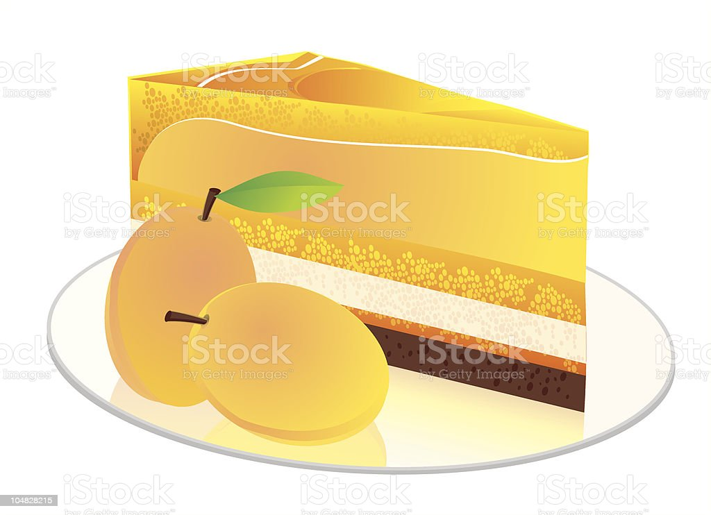 small fruit cake with apricots berries royalty-free stock vector art