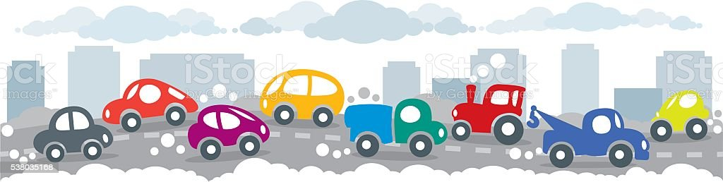 Small funny cars on the urban city road background vector art illustration