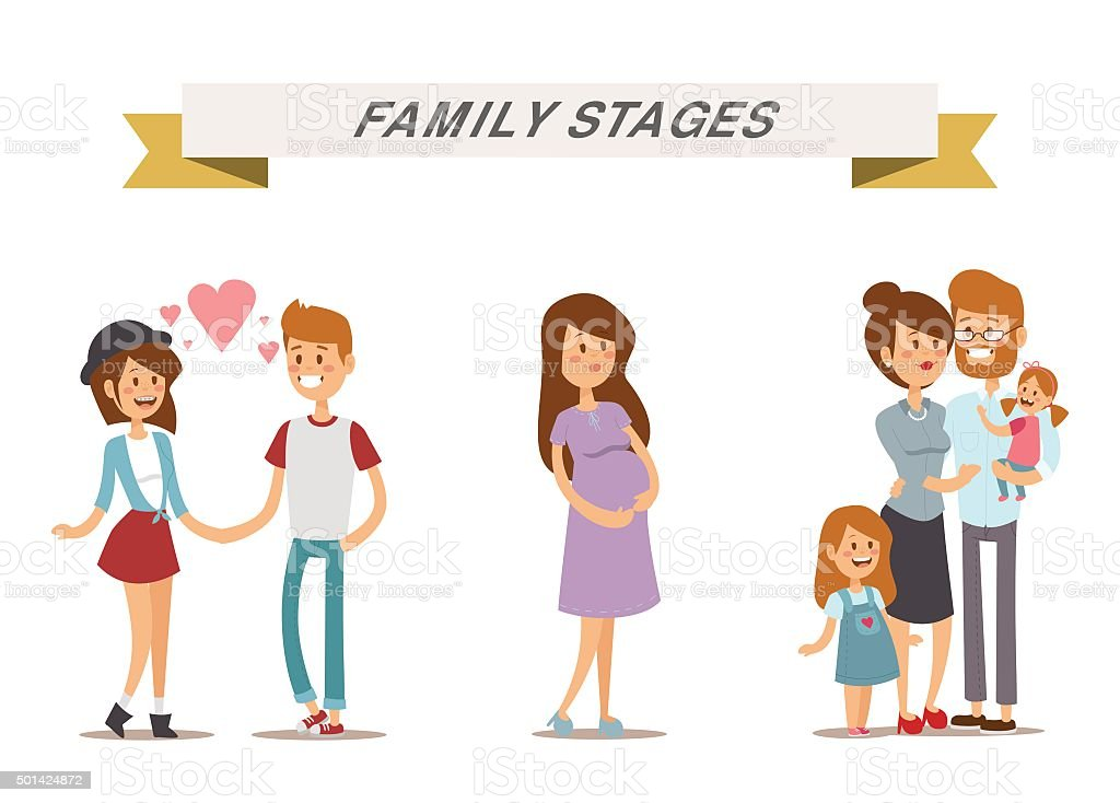 Small girl, adult boy and girl couple, pregnant women in vector art illustration