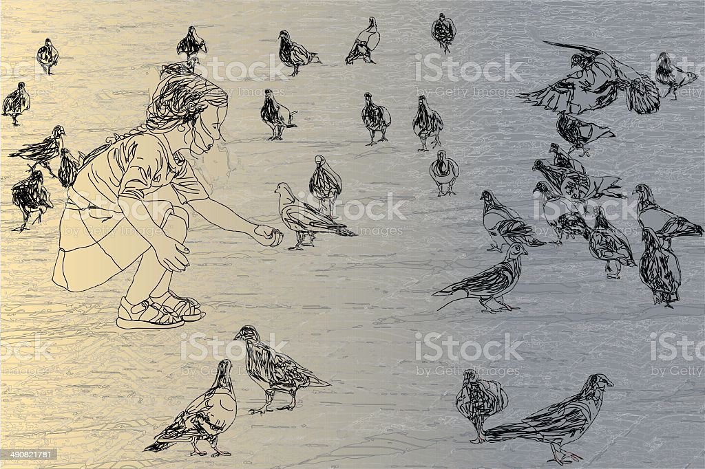 Small Girl And Pigeons vector art illustration