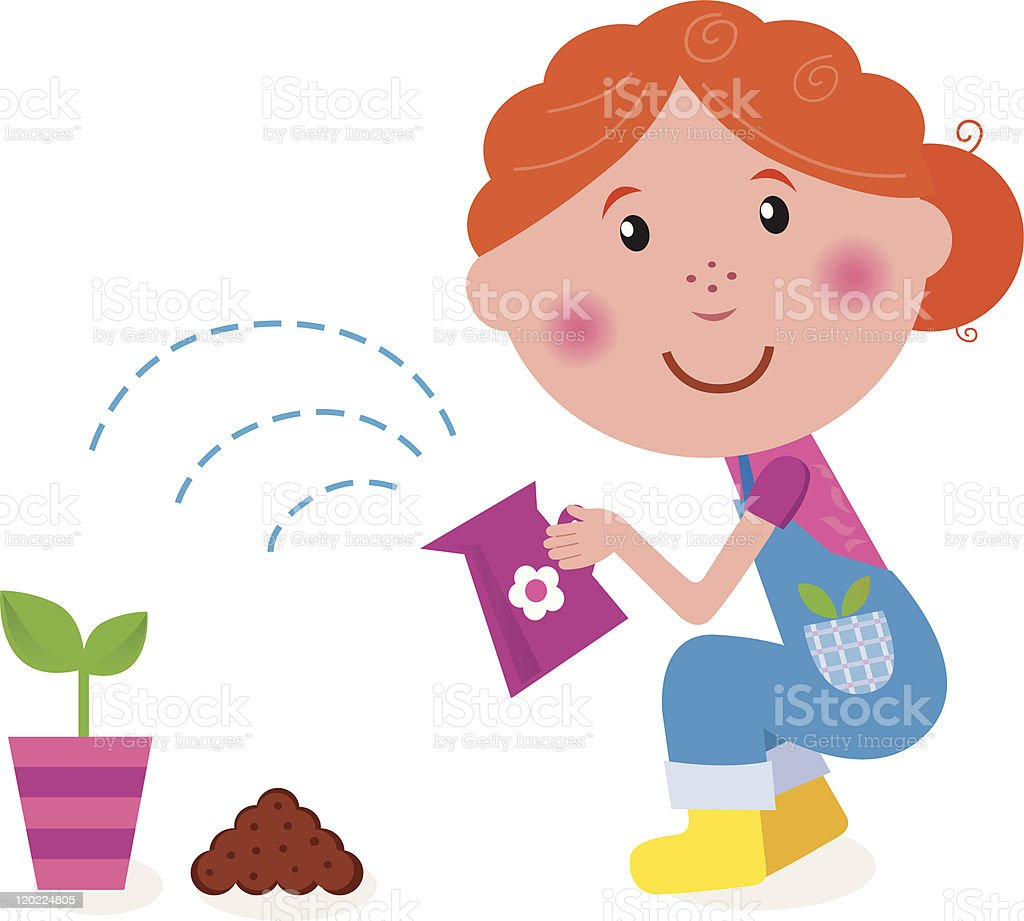 Small girl is watering plant in the garden royalty-free stock vector art