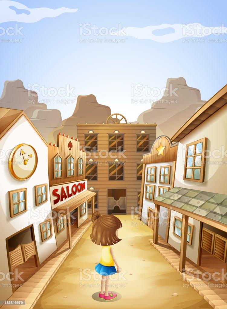 small girl near the saloon bars vector art illustration