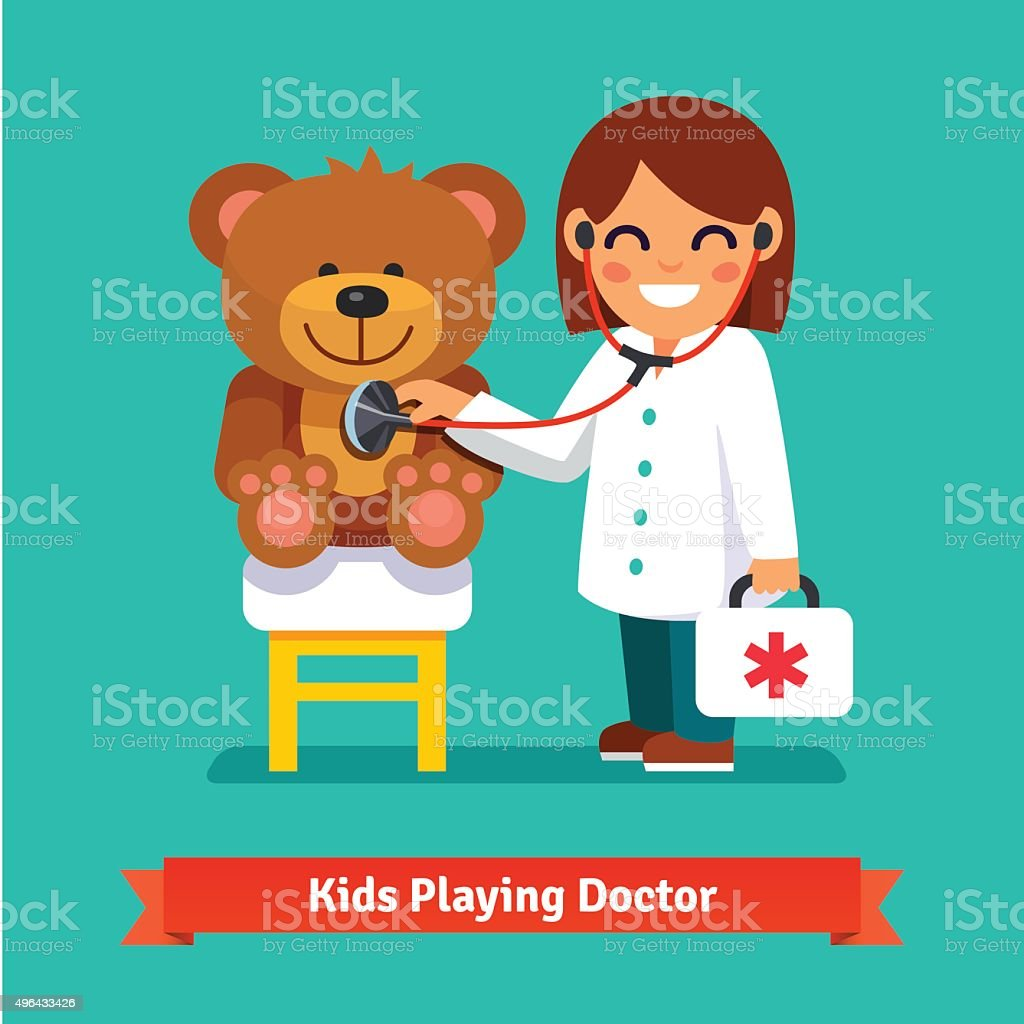 Small girl playing a doctor with teddy bear toy vector art illustration