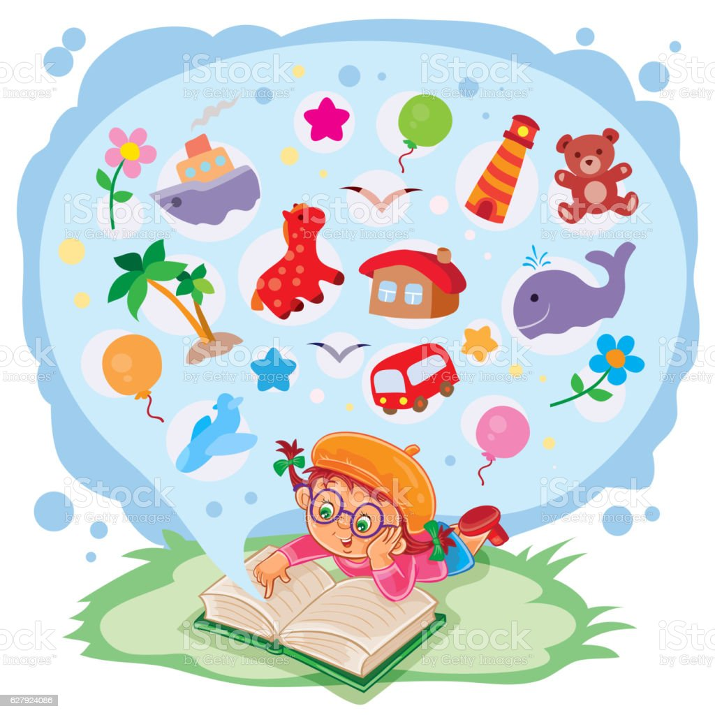 Small girl reading a book and dreams of adventures vector art illustration