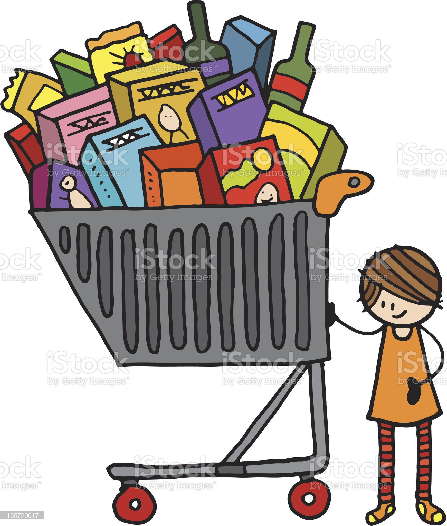 Small girl with a large shopping trolley royalty-free stock vector art