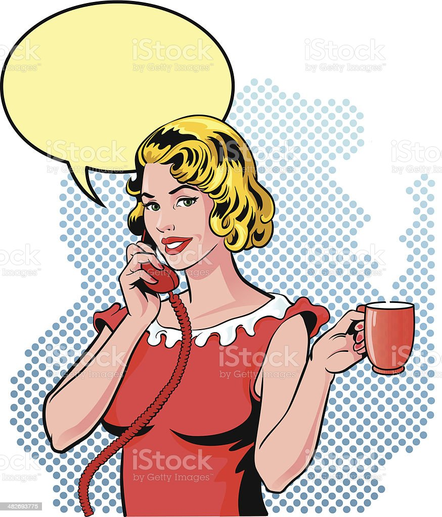 Small Gossip on the Phone with Cup of Coffee vector art illustration