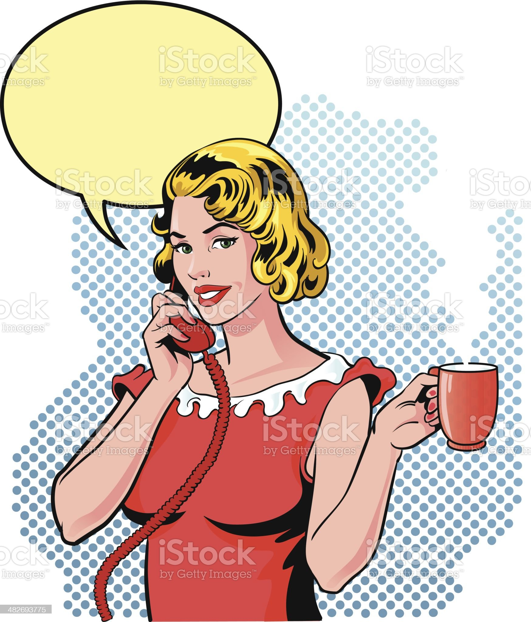 Small Gossip on the Phone with Cup of Coffee royalty-free stock vector art